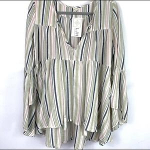 En Creme Bell Sleeve Striped Peasant Blouse M